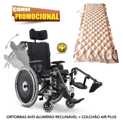 Cadeira de rodas reclinável AVD alumínio Ortobras + COLCHÃO PNEUMÁTICO HOSPITALAR ANTI ESCARA